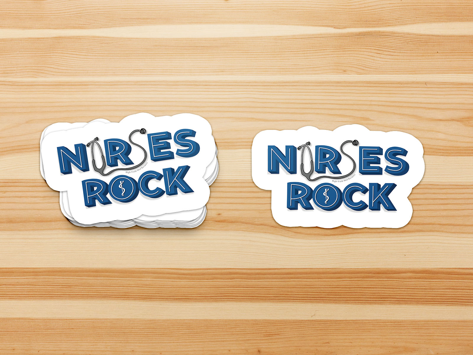 Nurses Rock Stethoscope Text on Wood